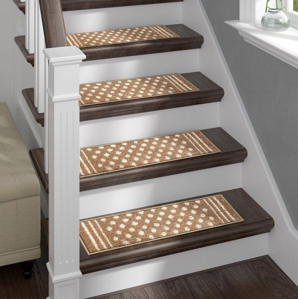 Shaggy Stair Rug - Light Polkadot, Pack of 13 with Double Sided Tape