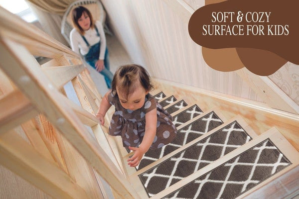 Willow Brown Soft Stair Treads, Pack of 13 with Double Sided Tape