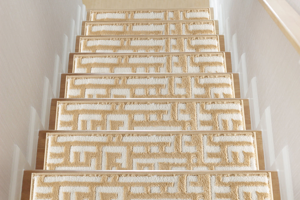 Water Oak Beige Soft Stair Treads, Pack of 13 with Double Sided Tape