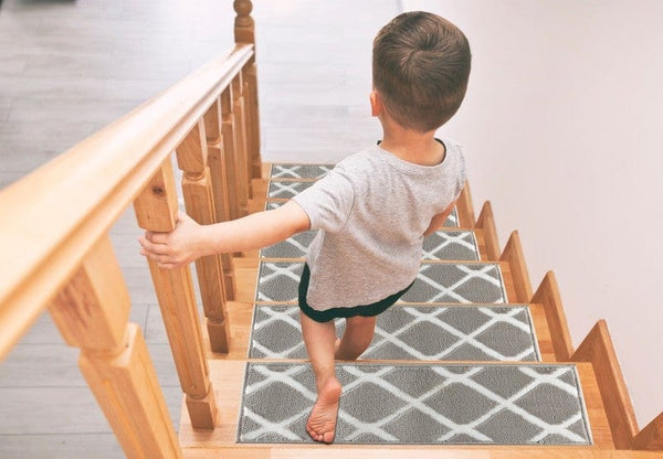 Willow Gray Soft Stair Treads, Pack of 13 with Double Sided Tape