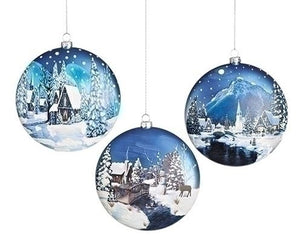FLAT DISC SCENIC GLASS ORNAMENT - HOUSE