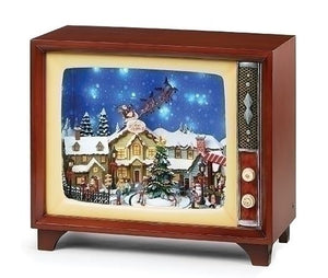 MUSICAL LED TV, VILLAGE WITH SNOWFALL - ROTATING