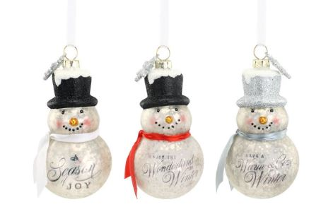 SNOWMAN GLASS ORNAMENT - HAVE A WARM & COZY WINTER