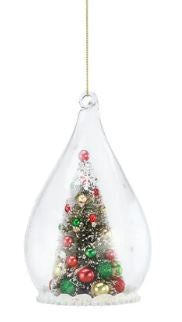 FROSTED CHRISTMAS TREE ORNAMENT - GLOBE