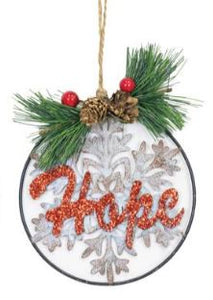 HOLLY SNOWFLAKE ORNAMENT - HOPE
