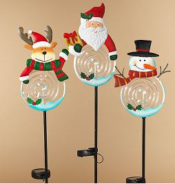 SANTA SOLAR LIGHTED METAL YARD STAKE