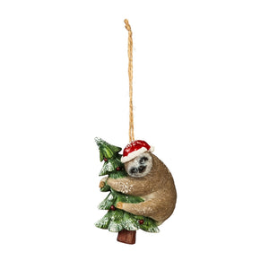 SLOTH WITH SANTA HAT ORNAMENT - HANGING ON TREE