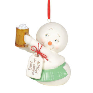 SNOWPINIONS BEER MAKES ME HOPPY ORNAMENT
