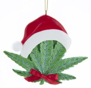 CANNABIS LEAF WITH STOCKING HAT ORNAMENT