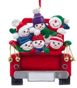 SNOWMAN ON TRUCK FAMILY OF 6 ORNAMENT