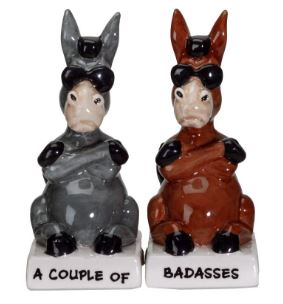 A COUPLE OF BADASSES SALT & PEPPER SHAKER SET