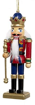WOODEN NUTCRACKER ORNAMENT - RED UNIFORM WITH STAFF