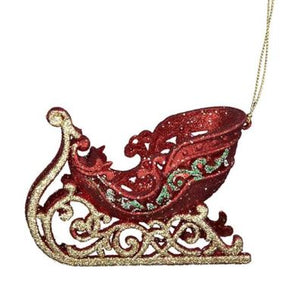 RED, GREEN & GOLD SLEIGH ORNAMENT