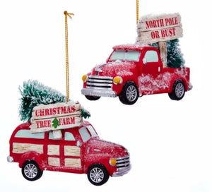 COZY COTTAGE TRUCK ORNAMENT - NORTH POLE OR BUST