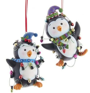 PENGUINS ENTANGLED IN LIGHTS ORNAMENT - PURPLE HAT