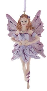 PURPLE BUTTERFLY FAIRY ORNAMENT - BROWN HAIR
