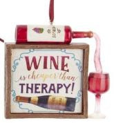 WINE SAYING PLAQUE ORNAMENT - WINE CHEAPER THAN THERAPY