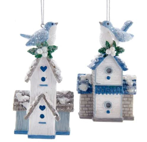 BLUE & WHITE BIRDHOUSE ORNAMENT - GRAY ROOF
