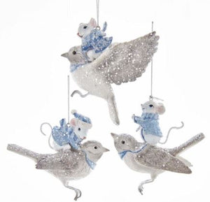 MOUSE ON BIRD ORNAMENT - MOUSE WITH SANTA CAP