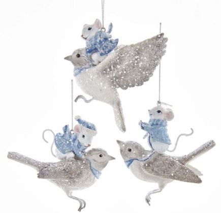 MOUSE ON BIRD ORNAMENT - MOUSE STANDING ON BIRD
