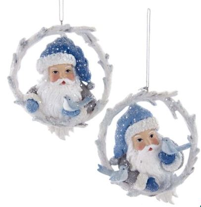 SANTA IN BIRCH WREATH ORNAMENT - ONE BIRD