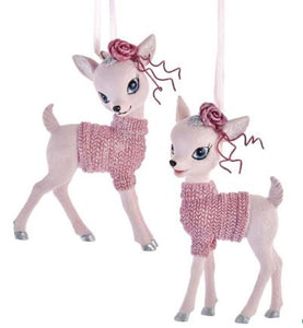 PINK BABY DEER WITH SWEATER - HEAD STRAIGHT