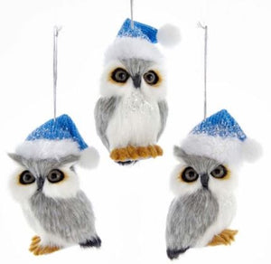 FURRY OWL WITH BLUE HAT ORNAMENT - LOOKING RIGHT