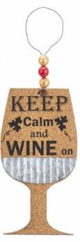 CORK WINE GLASS ORNAMENT - KEEP CALM