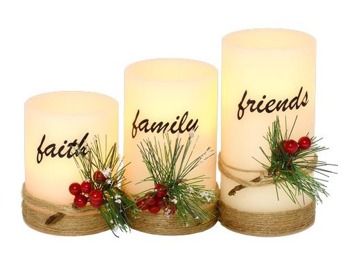 LED CANDLE SET WITH FAITH, FAMILY, FRIENDS