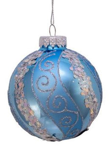 SILVER & BLUE  GLASS BALL WITH GLITTER & SEQUINS ORNAMENT
