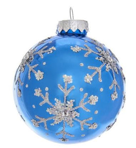 BLUE GLASS BALL WITH GLITTER & SEQUINS SNOWFLAKE ORNAMENT