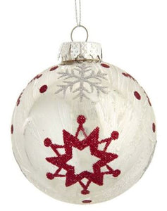 SILVER GLASS BALL WITH RED STAR OF DAVID & SILVER SNOWFLAKE