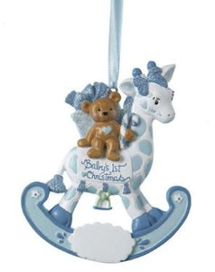 BABY'S 1ST BEAR ROCKING GIRAFFE ORNAMENT - BOY