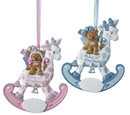 BABY'S 1ST BEAR ROCKING GIRAFFE ORNAMENT - GIRL