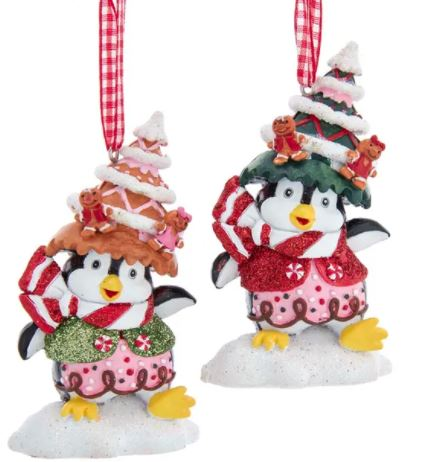 PENGUIN WITH GINGERBRD HAT ORNAMENT - GREEN HAT