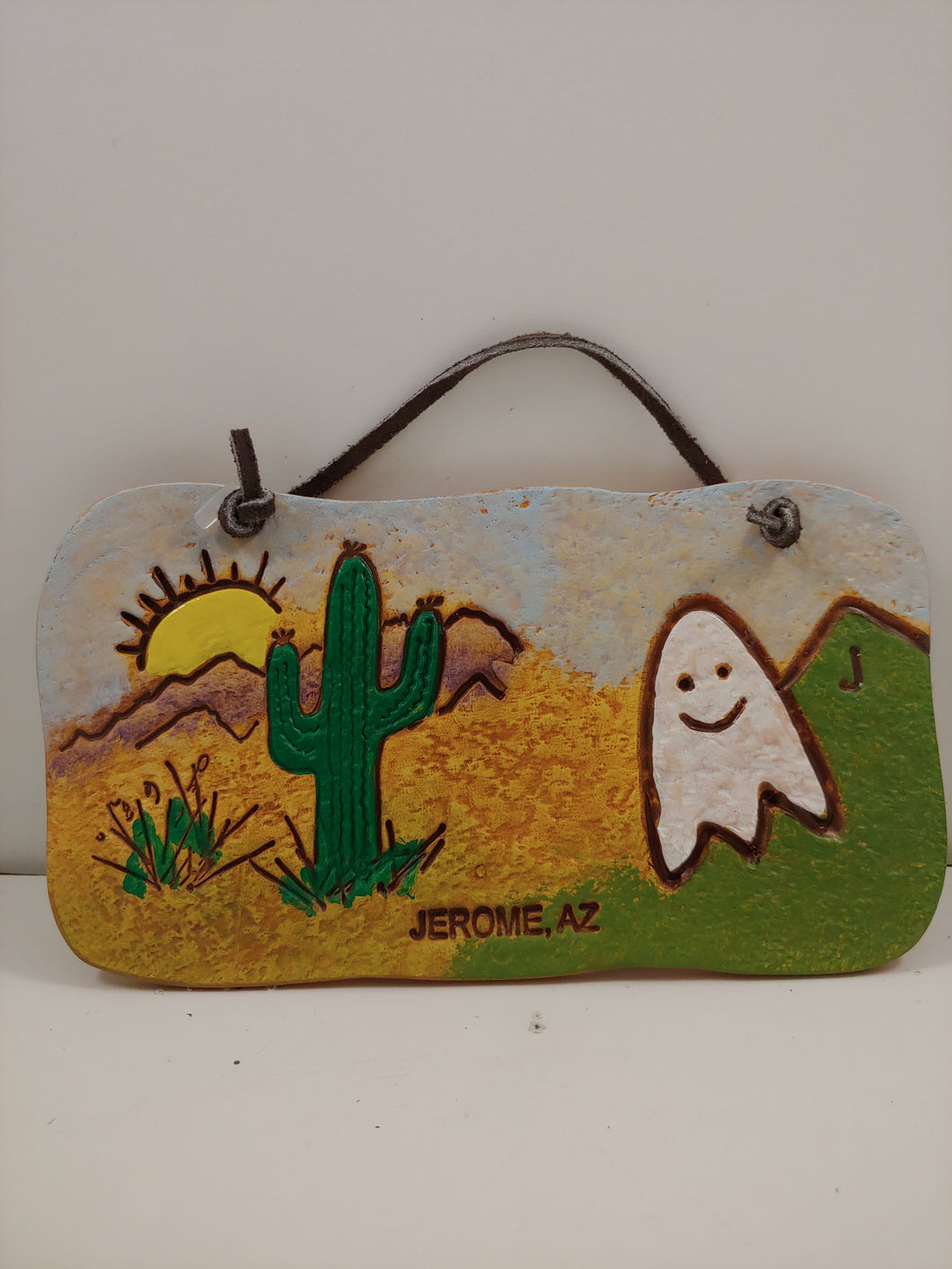 CLAY GHOST & SAGUARO ORNAMENT