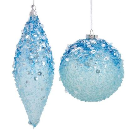 BEAD AND SEQUIN BLUE BALL ORNAMENT