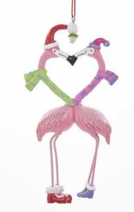 KISSING FLAMINGOS HANGING ORNAMENT
