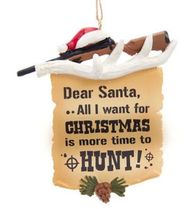 HUNTING LETTER TO SANTA ORNAMENT