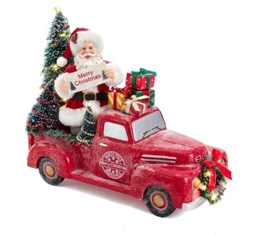 FABRICHE SANTA TRUCK WITH LIGHT UP TREES
