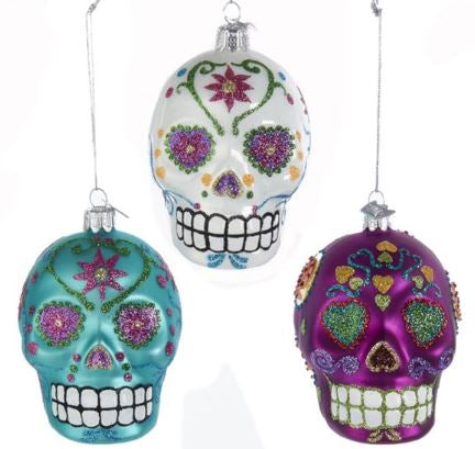 NOBLE GEMS SUGAR SKULL ORNAMENT - BLUE