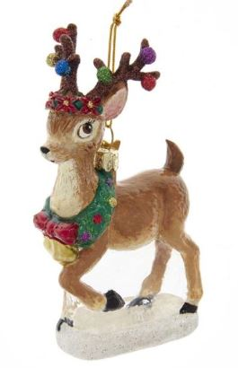 NOBLE GEMS GLASS REINDEER ORNAMENT