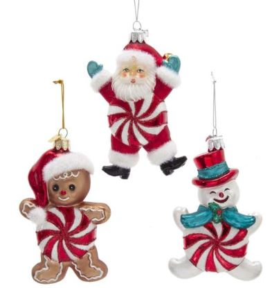 NOBLE GEMS RETRO STYLE PEPPERMINT BODY ORNAMENT - SANTA