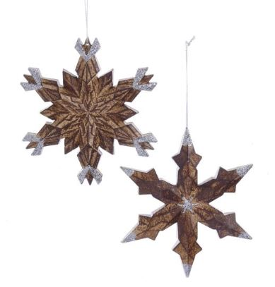 WOOD LOOK SNOWFLAKE ORNAMENT - WOOD STAR CENTER