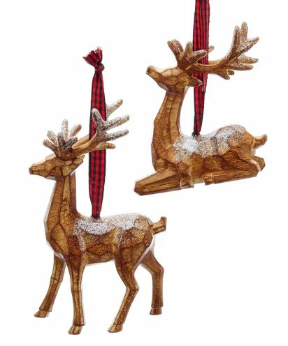 WOOD LOOK REINDEER ORNAMENT - STANDING UP