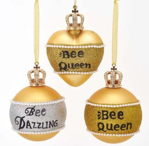 GLASS GOLD BEE ORNAMENT - BEE DAZZLING BALL