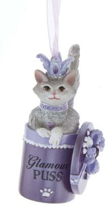 PURPLE & SILVER CAT WITH GLIITER ORNAMENT - GLAMOUR PUSS