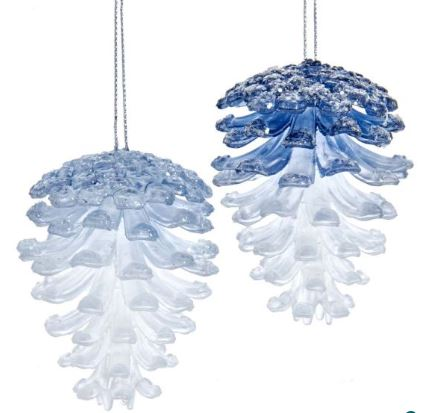 BLUE PINECONE ORNAMENT - LIGHT BLUE
