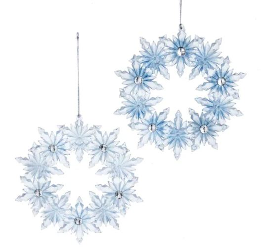 CLEAR SNOWFLAKE WREATH ORNAMENT