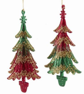 RED & GREEN TREE WITH GOLD GLITTER ORNAMENT - GREEN TOP